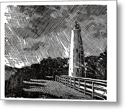 Metal Print featuring the painting Ocracoke Island Lighthouse II by Ryan Fox