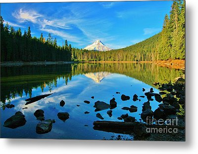 October On The Lake Metal Print by Sheila Ping