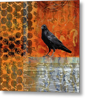 Metal Print featuring the painting October Raven by Nancy Merkle