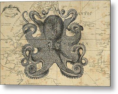 Octopus Sea Chart Metal Print