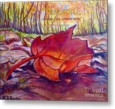 Metal Print featuring the painting Ode To A Fallen Leaf Painting With Quote by Kimberlee Baxter