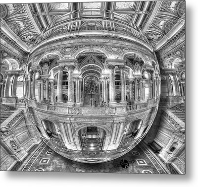 Ode To Mc Escher Library Of Congress Orb Horrizontal Metal Print by Tony Rubino