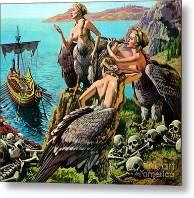 Odysseus And The Sirens Metal Print by English School