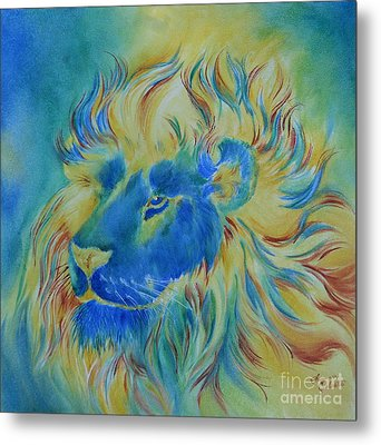 Of Another Color Blue Lion Metal Print