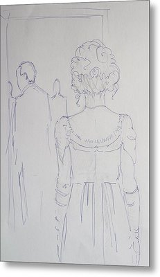 Off To Dinner - Line Illustration Of A Young Woman In A Twenties Period Dress Metal Print