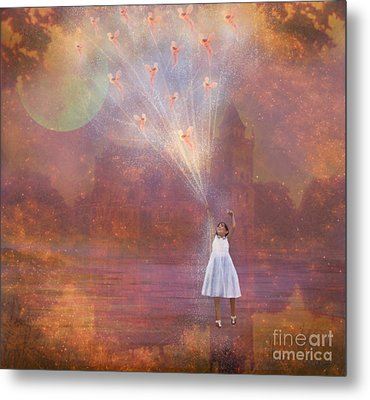 Off To Fairy Land - By Way Of Fairyloons Metal Print by Carrie Jackson