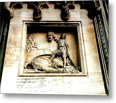 Metal Print featuring the photograph Off With His Head - Sculpture On The Cathedral In Milan,italy by Merton Allen