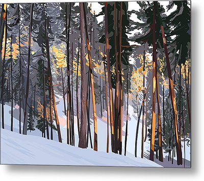 Office View Winter Alpenglow Metal Print