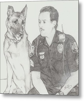Officer Jack Dunn And K9 Starbuck Metal Print by D Phillis Cook