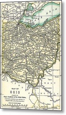 Ohio Antique Map 1891 Metal Print