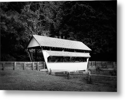 Ohio Covered Bridge In Black And White Metal Print by Tom Mc Nemar
