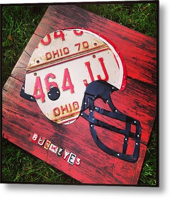 Ohio State #buckeyes #football Helmet - Metal Print by Design Turnpike
