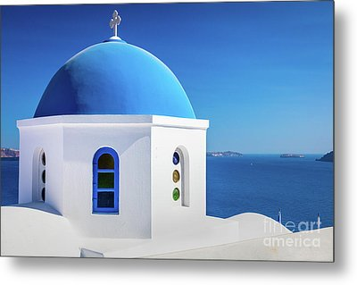 Oia Chapel Metal Print by Inge Johnsson