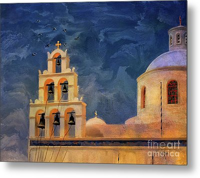 Metal Print featuring the photograph Oia Sunset Imagined by Lois Bryan
