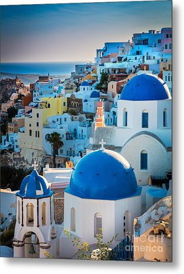 Oia Town Metal Print by Inge Johnsson