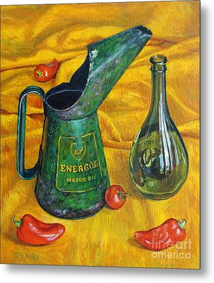 Oil Can With Red Metal Print by Tilly Willis