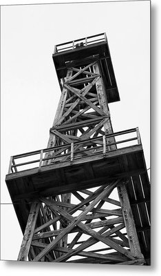 Oil Derrick In Black And White Metal Print by Art Block Collections