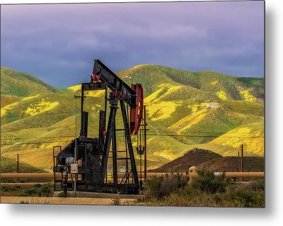 Metal Print featuring the photograph Oil Field And Temblor Hills by Marc Crumpler