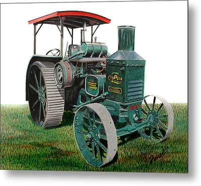 Oil Pull Tractor Metal Print