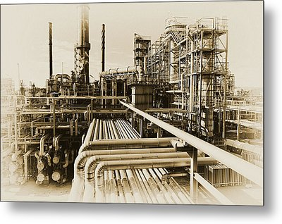 Oil Refinery In Old Vintage Processing Concept Metal Print by Christian Lagereek
