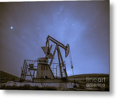 Oil Rig And Stars Metal Print