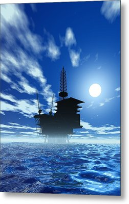 Oil Rig, Artwork Metal Print by Victor Habbick Visions