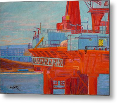 Oil Rig In Halifax Harbour Metal Print