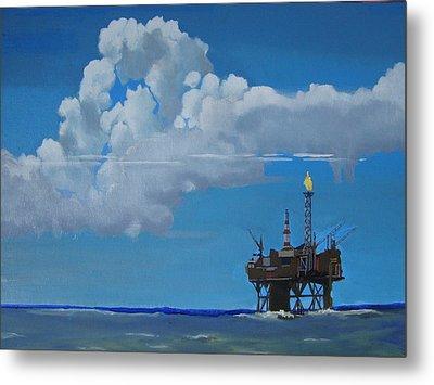 Oil Rig Near The Shetland Islands Metal Print