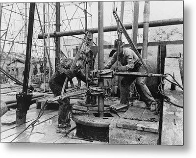 Oil Rig Workers, Called Roughnecks Metal Print
