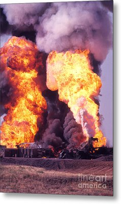 Oil Well Fire Metal Print