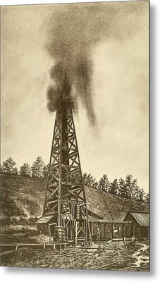 Oil Well With A Gusher In The Oil Metal Print by Everett