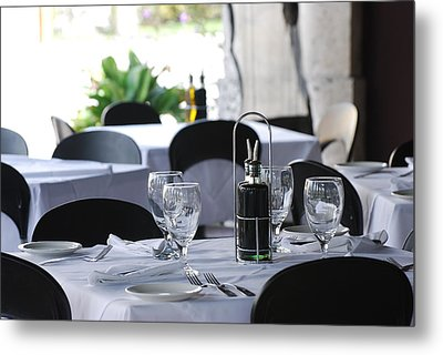 Metal Print featuring the photograph Oils And Glass At Dinner by Rob Hans