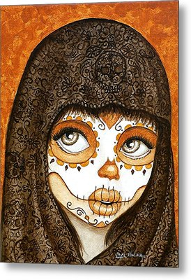 Metal Print featuring the painting Ojos Brillantes by Al  Molina