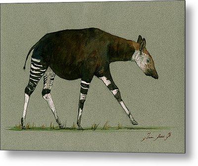 Okapi Art Watercolor Painting Metal Print