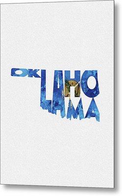 Oklahoma Typographic Map Flag Metal Print