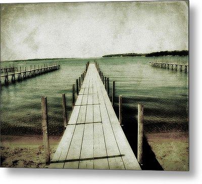 Okoboji Docks Metal Print by Julie Hamilton