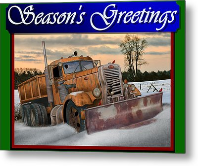 Ol' Pete Snowplow Christmas Card Metal Print by Stuart Swartz