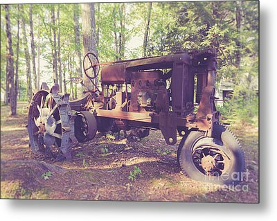 Old Abandoned Tractor In The Woods Metal Print