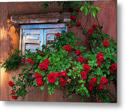 Old Adobe With Roses Metal Print