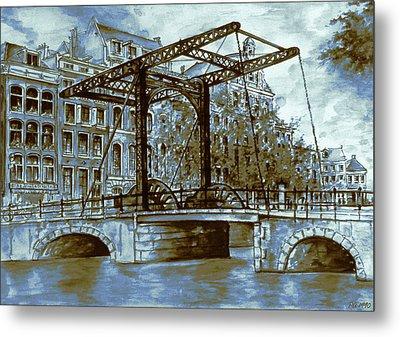 Old Amsterdam Bridge - Dutch Blue Water Color Metal Print