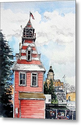Metal Print featuring the painting Old Auburn Firehouse by Terry Banderas