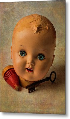 Old Baby Doll Head Metal Print by Garry Gay