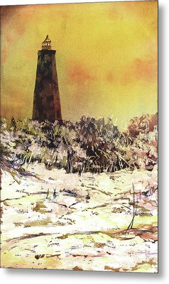 Metal Print featuring the painting Old Baldy Lighthouse- North Carolina by Ryan Fox