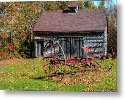 Old Barn And Rusty Farm Implement 02 Metal Print by Ken Morris