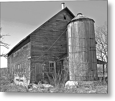 Old Barn And Wood Stave Silo Metal Print by Randy Rosenberger