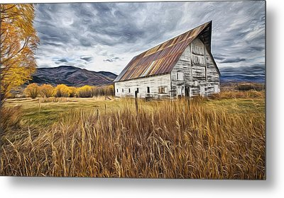 Old Barn In Steamboat,co Metal Print by James Steele