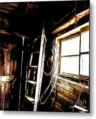 Old Barn Ladder Metal Print
