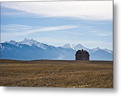 Old Barn, Mission Mountains Metal Print