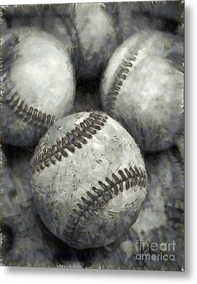 Old Baseballs Pencil Metal Print by Edward Fielding