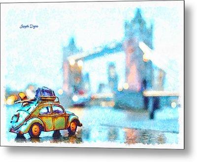 Old Beetle Visiting London - Da Metal Print by Leonardo Digenio